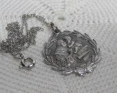 "Sterling Silver St. Christopher's Medal Pendant on Sterling Chain Ornate 1"" Diameter"