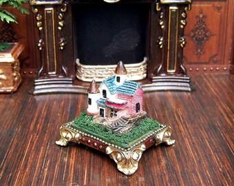Miniature house on a pedestal. Miniature Figurines . Hand Painted.  Scale 1:12