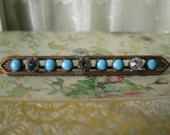 Antique Victorian Copper Faux Turquoise Cloisonne Rhinestone Bar Pin Brooch Victorian Brooch