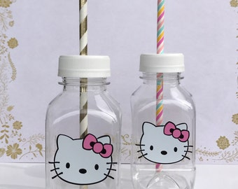 Hello Kitty 8 oz Vinyl Cup Plastic Milk Bottle With Lid