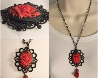 Red Rose Cameo Necklace/Free Shipping