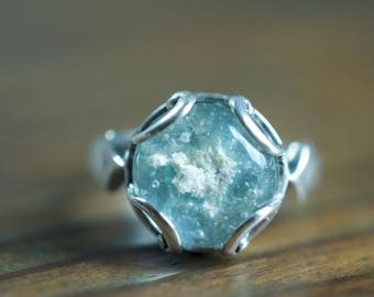 Aqua Silver Glass Cremation Ring, Sterling Silver Memorial Ring, 925 Silver Keepsake Ring