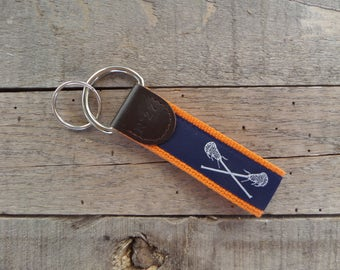 Lacrosse Key Fob/ Preppy Key Chain / Party Theme Key Fob / Lacrosse /Leather Key Chain/ Key Ring