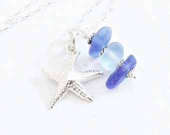 """Cobalt Blue Beach Glass Jewelry   Sterling Silver Starfish """"Sea Glass Jewelry"""" Ombre Stacked Beach Glass Necklace   Beach Gifts for Her"""