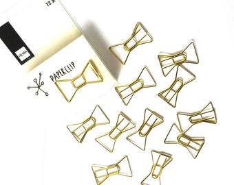 Set of 12 Gold Bow Paperclips