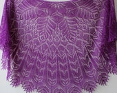 Purple merino lace shawl, hand knitted shoulder shawl, semicircular lace shawlette Ask a question
