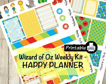 Printable HAPPY Planner Wizard of Oz Weekly Kit- Dorothy Toto Yellow Brick Road