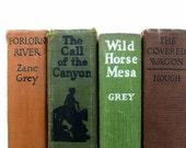Zane Grey Western Vintage Books / Cowboy Stories/ Book Decor/ Instant Library/ Old Books / Mid Century Novels/Decorative Books/Wedding Decor
