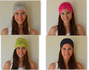 4 HEADBANDS JUST USD.25.-Hot pink-Navy blue-Ivory-Lime green stretchy lace headbads-Accessory-Hair bands-Birthday gift-Hair wrap