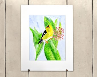 """Yellow Bird Original Art 11x14"""" Matted One of a Kind 100% of the profits go directly to artists with disabilities Item 66 Stephen M."""