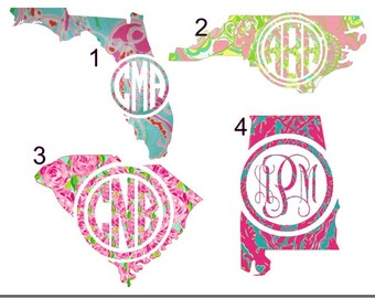 "3"" to 10"" Lilly Pulitzer Print Inspired State and Monogram Decal Sticker, Various sizes and colors to choose from !  Quickly shipped !"