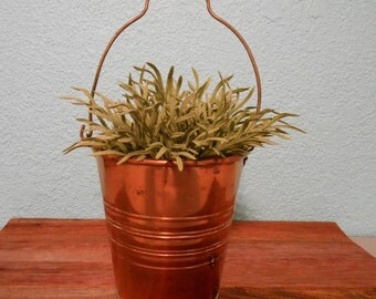 Vintage shiny copper and brass bucket, Vintage metal pail, Metal planter, Copper container, Vintage brass decor, 1970's style, Jungalow