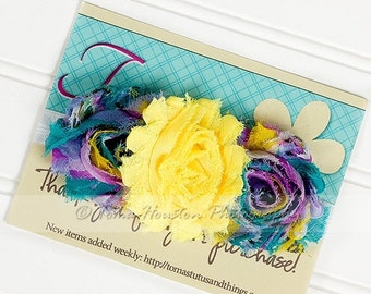 30 PERCENT OFF Shabby Flower Headband, Yellow, Teal, Purple, White Satin Elastic -SHIPS Free!
