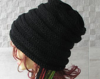 Extra Long  Slouchy Dreadlock Tam Beanie Hat Black Striped Warm Winter Vegan Knit Dread Tube Black