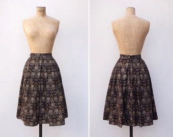 1960s Skirt - Vintage 60s Tapestry Skirt - Arts and Crafts Skirt