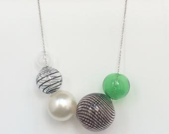 Bubbles Hand Blown Glass Necklace - Green
