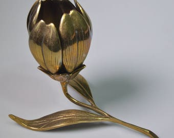 """eb2269 Brass Flower Ash Receiver 6 Removable Petals Ashtrays (3-7/8"""" each) Overall Piece Measures 8"""" in Length Mid-Century"""