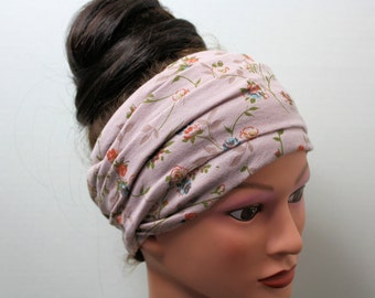 Taupe Head Scarf - Flower Hair Wrap - Extra Wide Jersey Headband - Yoga Hair Accessories - Workout Hair Accessories - Bohemian Hair Wrap