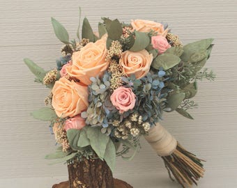 Light Peach, Pink, Blue and Sage Wedding Bouquet, Preserved Rose & Hydrangea Bridal Bouquet, Dried Flower Bouquet, Hydrangea Brides Bouquet