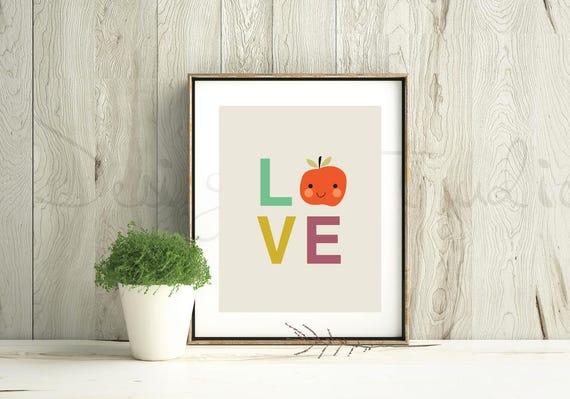Geometric Simple Mid Century Modern Bright Love Word Apple Transparent Kawaii Cute Modern Trendy Print - Digital Instant Download