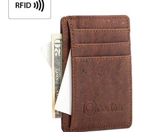 Slim Mens Wallet RFID by Corkor - Minimal Cork Wallet with ID Window - Handmade Wallets - Thin Wallet - Vegan Gifts in Cork (CK122)