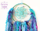 Dreamcatcher wall hanging, small mermaid green, blue, purple doily dreamcatcher, peacock, yarn and ribbon tassels, hoop art, hoop wall decor