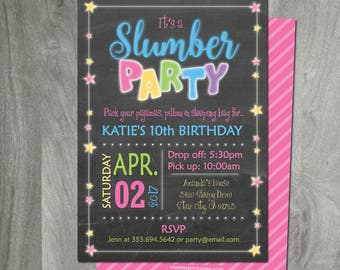 Slumber Party Invitation, Sleepover, Pajama Party, Custom, Party Printable, Printing Available, Birthday, Digital File, Double Sided