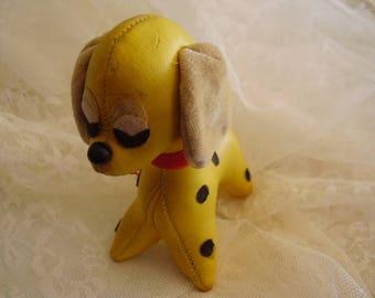 Vintage Yellow LEATHER Stuffed DOG