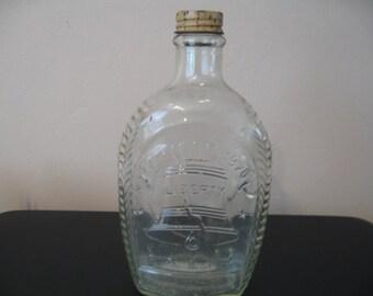 Collectible Log Cabin Glass Bi-Centenial Syrup Bottle 1776-1976