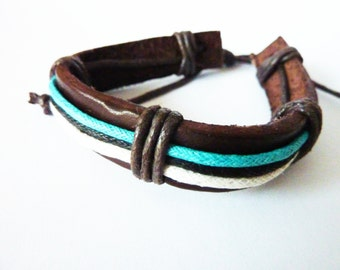 Leather bracelet Friendship Surfer brown black Leather Bracelet Mens Jewelry