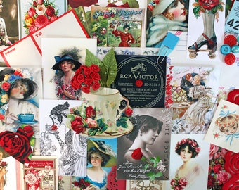 Red Roses for a Blue Lady*Rose Inspiration Kit*Red and Blue Printed Ephemera Paper Pack
