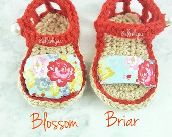 Blossom, Briar Crochet Baby Sandal, baby shower, gifts, fabric, new mom, baby shoes, slippers, summer, spring, booties, 3-6 also 6-9 months
