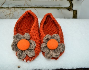 House flats, Non-Slip, Rubber Coating,Chunky Knit Slippers, Womens Slippers, Hand Knit Slippers, Knit Slippers, home shoes, Christmas Gift