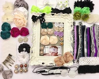 DIY Black, Green, and Purple 32 Headband Kit, Baby Shower Headband Kit, DIY Headband Kit