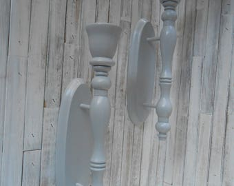 Wall Mount Wood Candle Holders-Gray Candle Sconce Decor- Candle Sconce Set-Painted and Distressed Wood Candle Holder Set-Candle Holders