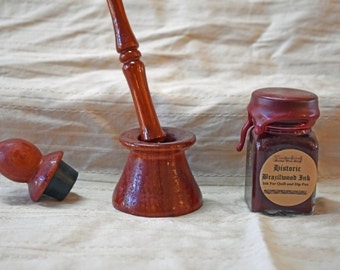 Calligraphy writing set -padauk dip pen, padauk inkwell with lid, historic ink