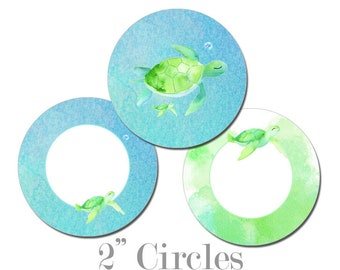 Digital Printable Two Inch Circles with Coastal Seaside Ocean Sea Turtles Cupcake Toppers Mom and Baby CCCT003