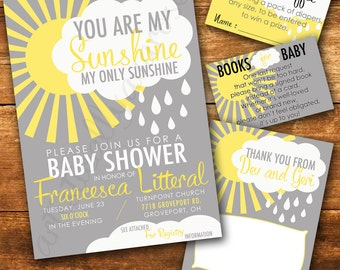 You Are My Sunshine Baby Shower Invitation Card Bundle - Digital PDF