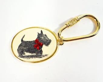 Barlow Scotty Dog Key Chain New In Box - Scotty Dog - Vintage Dog Key Chain - Oval With Gold
