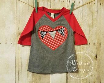 Heart with Pennants - Valentines custom shirt