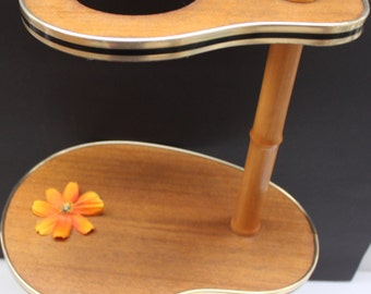 Mid Century Modern wood Plant Stand Table Kidney shaped 2-Tier  50's /60's