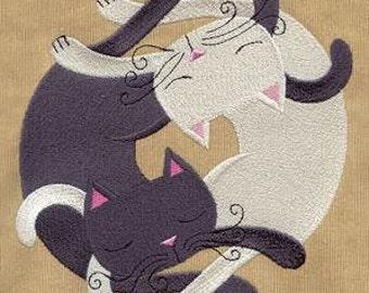 Infinite Kitties Embroidered Towel   Flour Sack Towel   Linen Towel   Dish Towel   Kitchen Towel   Hand Towel   Cat Towel   Cat Rescue