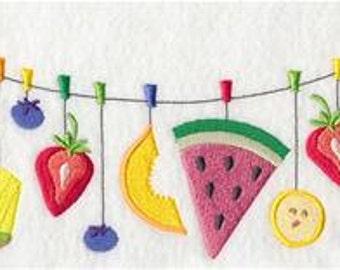Fruit Salad Clothesline Embroidered Towel | Flour Sack Towel | Linen Towel | Dish Towel | Kitchen Towel | Hand Towel | Fruit Medley