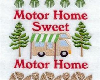 Motor Home Sweet Motor Home Embroidered Towel | Flour Sack Towel | Linen Towel | Dish Towel | Kitchen Towel | Hand Towel | Camping Towel