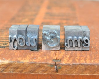 Ships Free - ou & Me - Vintage letterpress metal type collection - wedding, anniversary, love, girlfriend, boyfriend, industrial TS1010