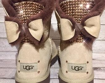 Bling UGG boots - crystal UGG boots - bling ugg boots with bows- bling uggs with bows- custom UGG boots - bling Chestnut ugg boots- bow uggs