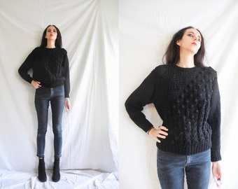 90's grunge black bobbly chunky knit asymmetric pattern jumper/sweater.