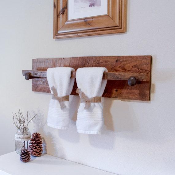 Rustic wood towel rack large reclaimed towel hanger with for Wooden towel racks for bathrooms
