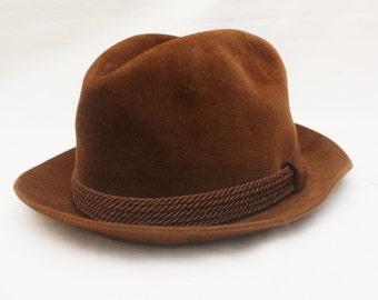 "Rare 70's/80's Vintage ""DOBBS"" Brown Wool Fedora Sz: 7 (Men's Exclusive)"
