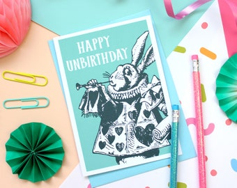 Alice in Wonderland Card. White Rabbit Unbirthday Card. Birthday Card. Book Lover. Wonderland Card. Alice. Literary Gifts. Mad Hatter. Alice